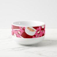 Pink santa pattern soup bowl with handle