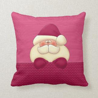 Pink Santa Reversible Christmas Throw Pillow