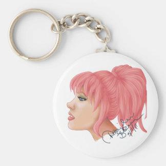 Pink Sapphire Hair Basic Round Button Keychain