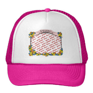 Pink  Sash with Floral Photo Frame Trucker Hat