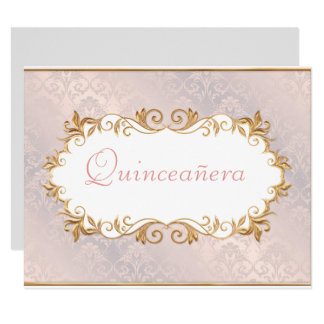 Pink Satin and Gold, Quinceanera Invitation