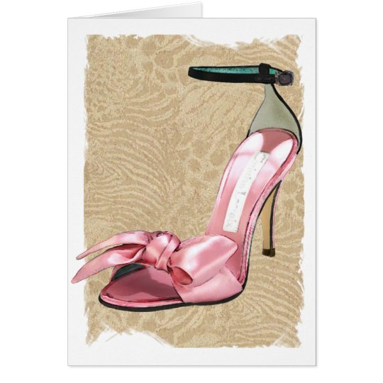 Pink Satin Ankle Straps on Safari Card
