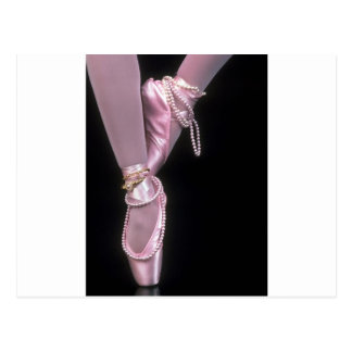 pink satin ballet toe shoes postcard