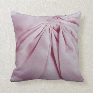 Pink Satin Bow Throw Pillow