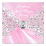 Pink Satin Diamonds Pink Sweet 16 Birthday Party Card