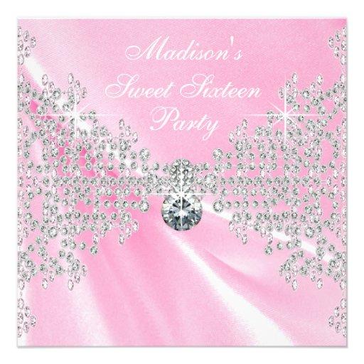 Pink Satin Diamonds Pink Sweet 16 Birthday Party Custom Announcement