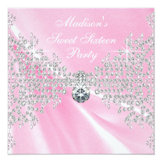 Pink Satin Diamonds Pink Sweet 16 Birthday Party Custom Announcement