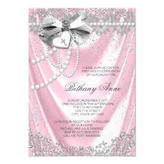 Pink Satin First Communion Card