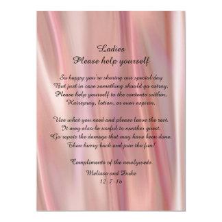 Pink Satin Look Wedding Basket Sign Card
