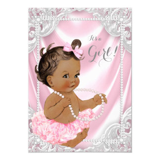 Pink Satin Pearl Ethnic Girl Baby Shower Card