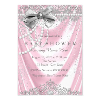 Pink Satin Pearl Girly Baby Shower Card