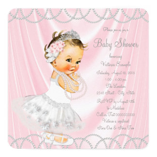 Pink Satin Pearl Little Lady Baby Shower Card