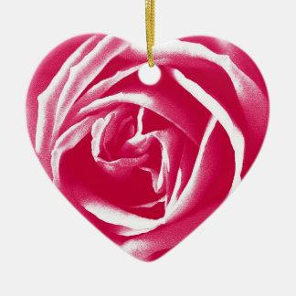 Pink satin rose print ceramic ornament