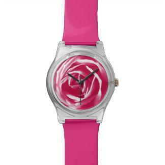 Pink satin rose print watch
