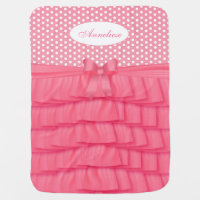 Pink Satin Ruffles and Bow with Polka Dots Stroller Blanket