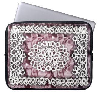 pink satin tatting laptop sleeve