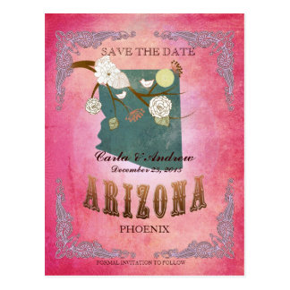 Pink Save The Date - Arizona Map With Lovely Birds Postcard