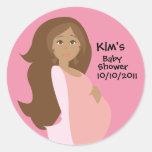 Pink Save The Date Baby Shower Round Sticker