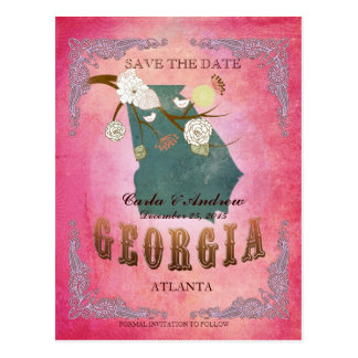 Pink Save The Date - Georgia Map With Lovely Birds Postcard