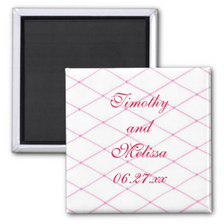 Pink Save the date Magnets, Quilted CrissCross Magnet