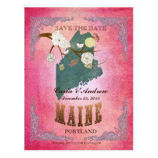 Pink Save The Date - Maine Map With Lovely Birds Postcard