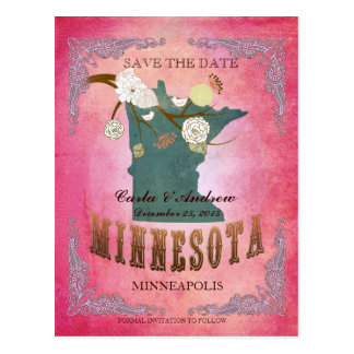Pink Save The Date - MN Map With Lovely Birds Postcard