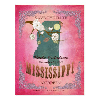 Pink Save The Date - MS Map With Lovely Birds Postcard
