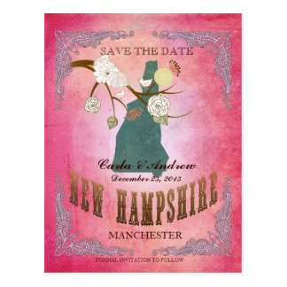 Pink Save The Date- NH Map With Lovely Bird Postcard