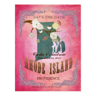 Pink Save The Date - RI Map With Lovely Birds Postcard