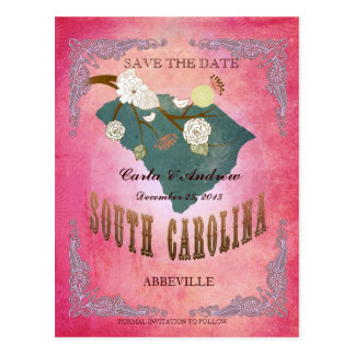 Pink Save The Date- SC Map With Lovely Bird Postcard