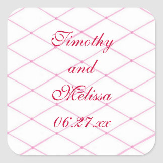 Pink Save the date Stickers, Quilted CrissCross Square Sticker