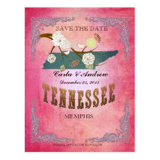 Pink Save The Date - TN Map With Lovely Birds Postcard