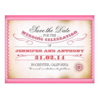 pink save the date vintage tickets postacards postcard