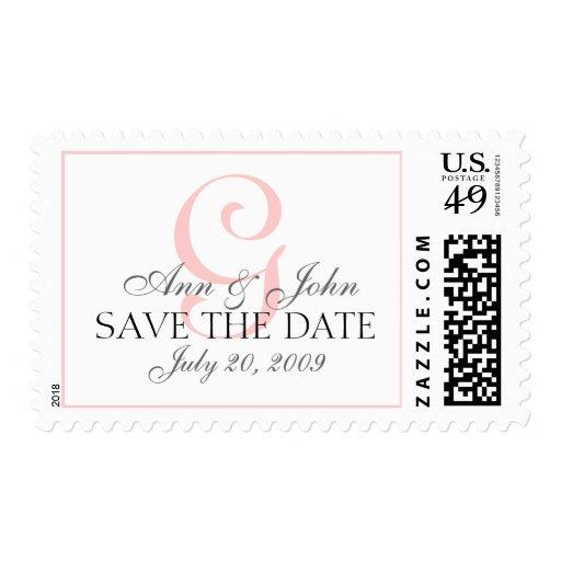 Pink Save the Date Wedding Monogram G Stamp