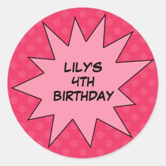 Pink Save the Day Superhero Custom Birthday Classic Round Sticker