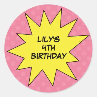 Pink Save the Day Superhero Custom Birthday Sticker