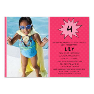 Pink Save the Day Superhero Photo Birthday Party Card