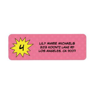 Pink Save the Day Superhero Return Address Labels