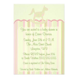 Pink Scallop Damask Stripes Baby Shower Invite