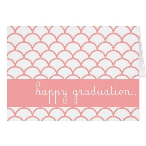 Pink Scallop Edge Customizable Happy Graduation Ca Greeting Card