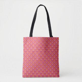 Pink Scallop Print Tote Bag