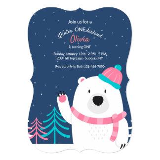 Pink Scarf Bear Invitation