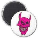 Pink Scary Demon Skull Refrigerator Magnets