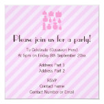 "Pink Scent Bottles. 5.25"" Square Invitation Card"