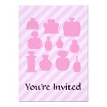 "Pink Scent Bottles. 5"" X 7"" Invitation Card"