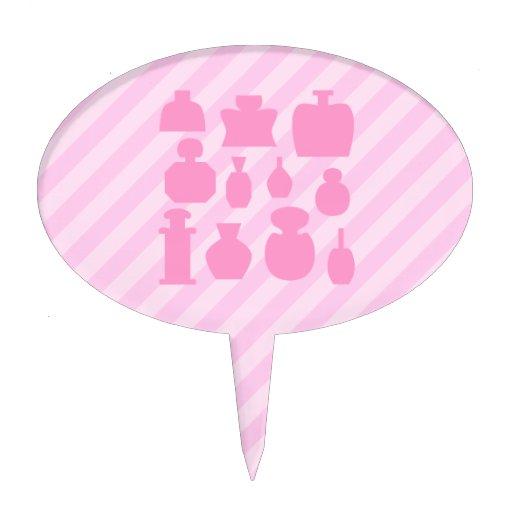 Pink Scent Bottles. Oval Cake Topper