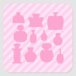 Pink Scent Bottles. Square Stickers