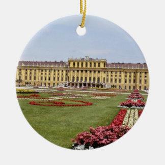 Pink Schonbrunn Castle, Vienna, Austria flowers Double-Sided Ceramic Round Christmas Ornament