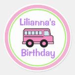 Pink School Bus Birthday Classic Round Sticker