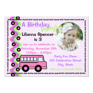 Pink School Bus Wheels with Photo 5x7 Paper Invitation Card